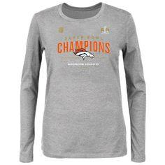 Denver Broncos Majestic Women's Super Bowl 50 Champions Plus Size Trophy Collection Locker Room Long Sleeve T-Shirt - Heather Gray - $23.99