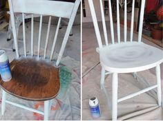 The Painted Chairs - a Second Chance Makeover - Pretty Handy Girl Painted Dining Chairs, Wooden Table And Chairs, Wooden Rocking Chairs, A Table, Refurbished Chairs, Kitchen Chair Makeover, Wooden Chair Makeover, Painting Old Chairs, Painting Kitchen Chairs