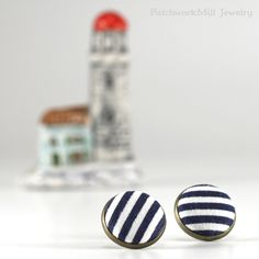 Navy Blue Stud Earrings - Fresh Blue and White Stripes Earring Studs - Sailor Fabric Buttons Jewelry - Antique Posts, Jewelry by PatchworkMillJewelry