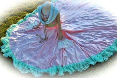 Romantic Tatter Pink Fairy Queen Skirt Extra Long Train by IzzyRoo