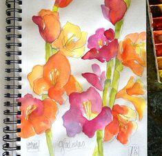 Valerie Weller... watercolor in my sketchbook- gladiolas