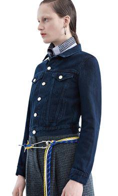 Tag denim jacket in stonewashed indigo denim that is overdyed black #AcneStudios #PF15