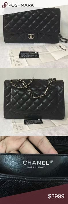 Auth Chanel Classic Maxi Caviar Flap Black Bag SHW Pristine condition with very minor signs of wear. Comes with original receipt and authenticity card. GUARANTEED 100% AUTHENTIC OR 10X YOUR MONEY BACK!! PHOTOS ARE TAKEN OF THE EXACT SAME ITEM YOU WILL RECEIVE! WHAT YOU SEE IS WHAT YOU GET*** PLEASE COMMENT BELOW IF YOU WOULD LIKE TO SEE MORE DETAILED PHOTOS. Chanel Bags Shoulder Bags