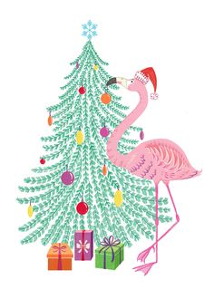 Flamingo and Christmas tree. Tropical Christmas, Beach Christmas, Christmas Mood, Christmas In July, Christmas Themes, Christmas Crafts, Christmas Decorations, Coastal Christmas, Flamingo Craft