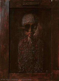 KRZYSZTOF IWIN - WSPOMNIENIE PIERWSZEGO GARNITURKU (olej płyta 60x80cm (2000) )