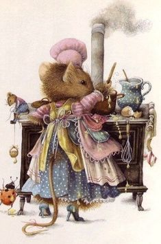 "Vera the Mouse, by Marjolein Bastin.I just love the children's illustrations of ""Home life"". Susan Wheeler, Marjolein Bastin, Nature Artists, Cute Mouse, Dutch Artists, Beatrix Potter, Children's Book Illustration, Illustration Pictures, Whimsical Art"