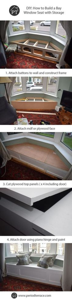 Finished Victorian Window Seat 4 - Interior Design Tips and Home Decoration Trends - Home Decor Ideas - Interior design tips Window Seat Storage, Window Seats, Storage Room, Room Window, Diy Storage, Wood Storage, Hidden Storage, Window Curtains, Victorian Windows