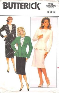 Fitted and flared, lined, hip length jacket has extended shoulders, shoulder pads, side front and side back seams and long sleeves. Straight skirt, below mid-knee, has waistband, back zipper, and heml
