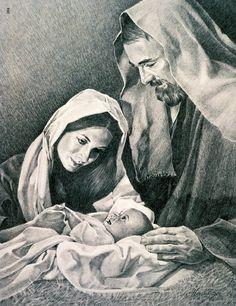 Baby Jesus, Mary, and Joseph. The Holy Family.