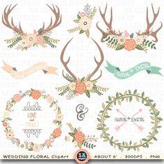 "Wedding Clipart ""WEDDING FLORA"" clip art,Vintage Flowers,Floral Antlers,Wreath,Wedding Flora,Wedding invitation, Instant Download Wf079"