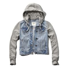 Abercrombie & Fitch Hoodie Jean Jacket ($42) ❤ liked on Polyvore featuring outerwear, jackets, tops, coats, light wash, denim jackets, abercrombie fitch jacket and jean jacket