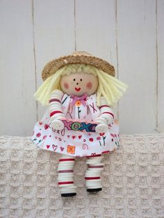 Valentine Button Doll with Straw Hat by DaileysDarlings on Etsy