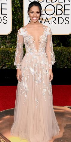 2016 Golden Globes Red Carpet Arrivals - Corinne Foxx - from InStyle.com