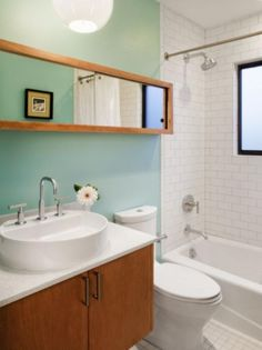 Get the mid-century modern inspired design on a budget. Our AquaTiles can be used in your design. http://www.decpanels.com/products/aquatile #bathroom #DIY #remodel