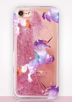 Unicorn Glitter Clear Phone Case. The best and cutest iPhone and Samsung cases you've ever seen. All the cases are handmade and made to order.