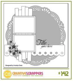 Creative Scrappers 142 - http://creativescrappers.blogspot.com #Scrapbook Sketch