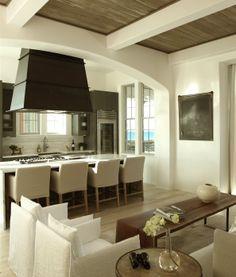 Open kitchen, wood ceiling