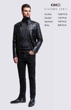 Stylizacja casualowa Giacomo Conti: skórzana kurtka męska Isidoro 14/06 MP, spodnie Federico slim 14/39 T #giacomoconti