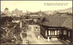 1930년대 덕수궁 안에서 바라본 경성(서울) 시가. 왼쪽 위가 지금의 서울시청.