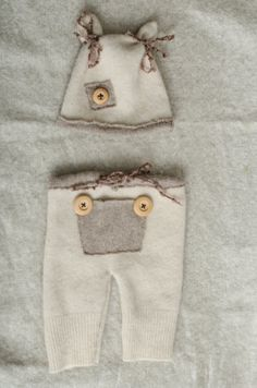 upcycled newborn hat and pants set photo prop by pmKreations, $20.00