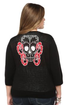 Retro Chic By Torrid - Black Skull And Roses Cardigan