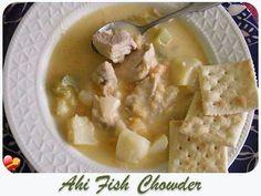 Simple and healthy local style Ahi Fish Chowder. Get more island favorites here. Seafood Dip, Seafood Menu, Seafood Dishes, Fish And Seafood, Seafood Recipes, Ono Hawaiian Food, Hawaiian Dishes, Hawaiian Recipes, Chowder Recipes