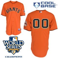 bc480102f Giants Customized Authentic Orange Cool Base MLB Jersey w 2010 World Series  Patch (S
