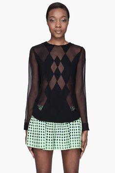 THAKOON Black merino wool and silk argyle-patterned blouse