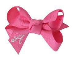3 Inch Pink Monogram Bow