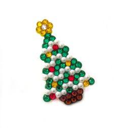 Sparkly Christmas Tree Brooch - Festive Fir Tree Pin Badge - Rhinestone Encrusted Xmas Jewellery