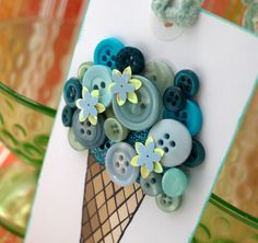 Looked for images of icecream for invitations to an ice-cream party club, and found this! Wow cute... love Button art!