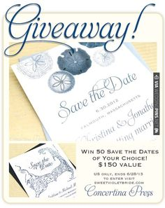 giveaway! Win 50 Save the Dates from Concertina Press on Sweet Violet Bride blog ends 6/28/13 | VIA #WEDDINGPINS.NET