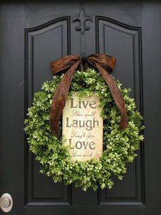 Spring Wreaths, Wedding Wreath, Green,   Live, Laugh, Love, Boxwood Wreath, Year Round Wreath, Mother's Day,   Inspirational Decor, Modern Decor...
