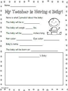 MY TEACHER IS HAVING A BABY ~ FREEBIE - TeachersPayTeachers.com