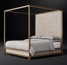 RH Modern's Montrose Tufted High Panel Four-Poster Bed:Inspired by the streamlined glamour of the late 20th century, our four-poster bed pairs a sleek, brass-finish metal frame with a tufted headboard for a clean, angular silhouette.
