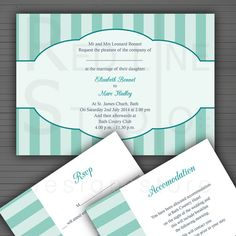 Elegant Striped Wedding Invitation set  choose by redlinecs, €15.00
