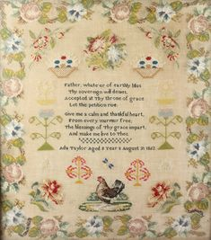"""Lot 365s, A Victorian stitchwork sampler with motto and floral decoration by Ada Taylor aged 8 years August 31st 1862 21"""" x 18 1/2"""" contained in a decorative gilt frame, Est £150-200"""