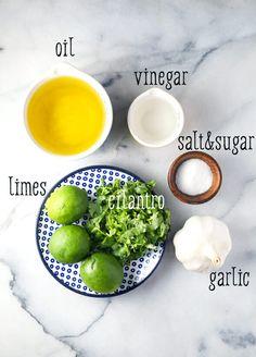Lime-Cilantro Vinaigrette (Plus How to Make Grilled Fish Tacos) Chili Lime Vinaigrette Recipe, Cilantro Lime Vinaigrette, Vegetarian Recipes, Cooking Recipes, Healthy Recipes, Cooking Tips, Cilantro Salad Dressings, Easy Healthy Dinners, Dressings