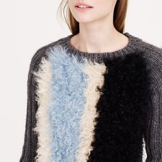 COLLECTION STRIPED SHEARLING SWEATER