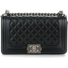 CHANEL Lambskin Quilted Medium Boy Flap Black ❤ liked on Polyvore featuring bags, handbags, chanel, kiss-lock handbags, chanel shoulder bag, shoulder bag purse and evening purses