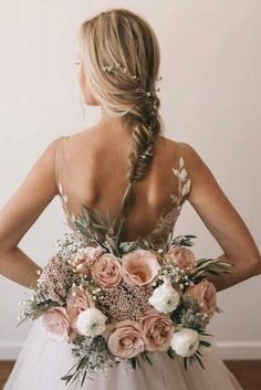 Elegant and rustic wedding ideas to admire, blush wedding bouquet, fishtail hairstyle with crystal vine/ fall wedding ideas. Blush Wedding Flowers, Elegant Wedding Hair, Bridal Flowers, Chic Wedding, Wedding Trends, Floral Wedding, Perfect Wedding, Wedding Colors, Dream Wedding