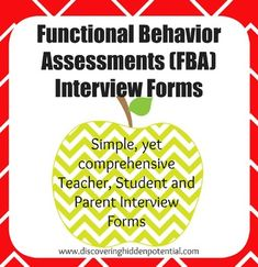 Includes three interview forms in order to complete a Functional Behavior Assessment (FBA).  Teacher, parent and student interview forms are one page, making them quick and easy to complete.  However, they are also comprehensive by asking in common language about antecedents, behavior, and consequences of behavior(s) which are key components of a FBA.