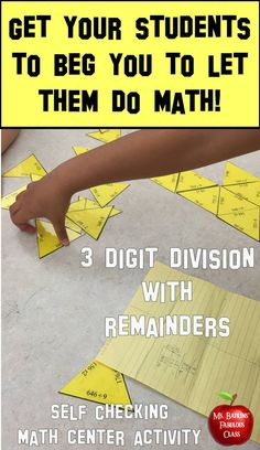 Division with remainders, 30 problem, three digit divided by one digit, puzzle ideal for math center work. #selfcheckingmathcenter  #mathcenter  #division #fourthgrademath