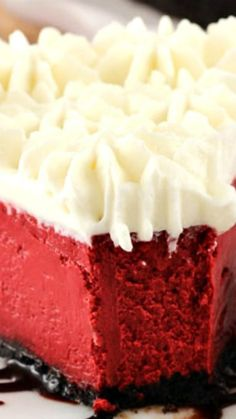 Red Velvet Cheesecake ~ Smoothest and Creamy. Insanely Good Red Velvet Cheesecake ~ Smoothest and Creamy. Homemade Cheesecake, Cheesecake Recipes, Dessert Recipes, Raspberry Cheesecake, Oreo Cheesecake, Pumpkin Cheesecake, Best Red Velvet Cheesecake Recipe, Chocolate Cheesecake, Chocolate Recipes