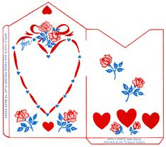 vintage valentine clip art, retro valentine envelope, hearts roses illustration, printable envelope, red blue feminine design