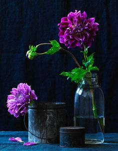 Plum dahlia.  Large single blooms make a big statement on an otherwise simple tablescape.