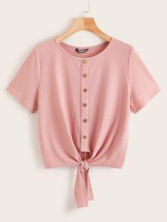online shopping for Verdusa Women's Button Front Ribbed Knot Hem Crewneck T-Shirt Top from top store. See new offer for Verdusa Women's Button Front Ribbed Knot Hem Crewneck T-Shirt Top Diy Clothes, Clothes For Women, Fashion News, Fashion Outfits, Frocks For Girls, Latest T Shirt, T Shirt Diy, Cute Shirts, Shirt Style