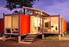 The cool thing with this shipping container house is that the material for the roof over the clerestory was removed from the walls of the shipping container.  That stretches the reuse factor a little farther (and saves some additional money).