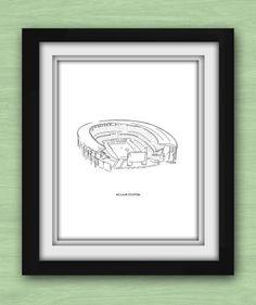 Baylor McLane Stadium black and white print