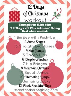 12 Days of Christmas Bodyweight Workout 12 Days of Christmas no equipment necessary total body workout. Work on your arms, legs, and abs by doing a variety of bodyweight exercises. Ab Workout Men, Workout Songs, Strength Workout, Workout Bodyweight, Card Workout, Circuit Workouts, Men Exercise, Circuit Training, Workout Plans
